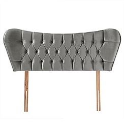 Airsprung - Grey velvet diamante finished 'Luxe' headboard