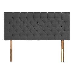 Sleepeezee - Dark grey plush velvet 'Button' headboard