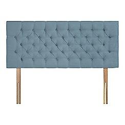 Sleepeezee - Light blue plush velvet 'Button' headboard
