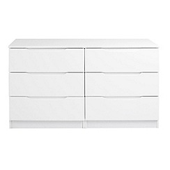 Debenhams - White 'Brighton' low 6 drawer chest