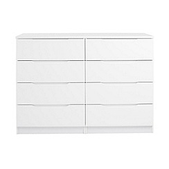 Debenhams - White 'Brighton' low 8 drawer chest