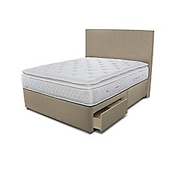 Sleepeezee - Beige 2 drawer divan bed with 'Opulence 3000' mattress