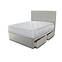 Sleepeezee - Taupe grey 4 drawer divan bed with 'Opulence 3000' mattress