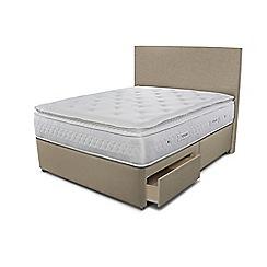 Sleepeezee - Beige 2 drawer divan bed with 'Opulence 4000' mattress