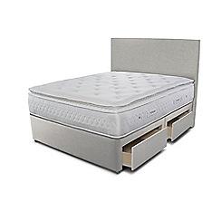 Sleepeezee - Taupe grey 4 drawer divan bed with 'Opulence 4000' mattress