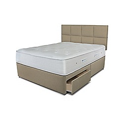 Sleepeezee - Beige 2 drawer divan bed with 'Gel Sensation 1500' mattress