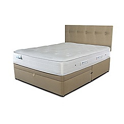 Sleepeezee - Beige half end ottoman divan bed with 'Gel Sensation 1500' mattress