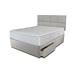 Sleepeezee - Taupe grey 2 drawer divan bed with 'Gel Sensation 1500' mattress