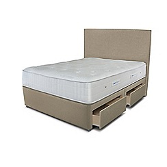 Sleepeezee - Beige 4 drawer divan bed with 'Gel Sensation 1200' mattress