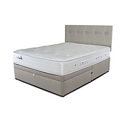 Sleepeezee - Taupe grey half end ottoman divan bed with 'Gel Sensation 1200' mattress