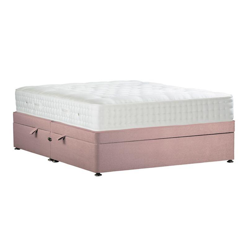 Sleepeezee - Light Pink 'Natural Indulgence Bronze' Plush Velvet Side Ottoman Divan Bed With Mattress