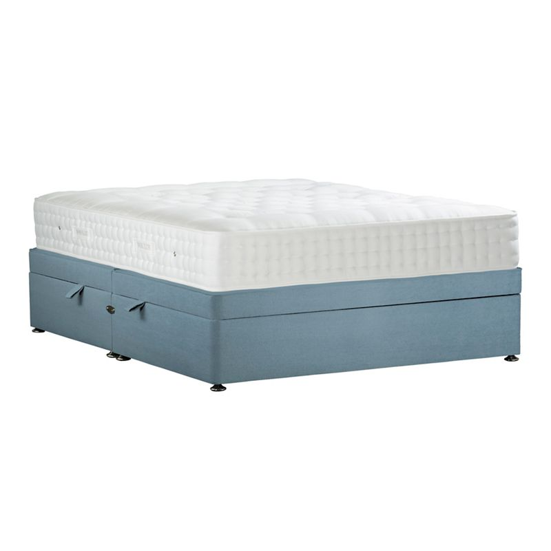 Sleepeezee - Light Blue 'Natural Indulgence Bronze' Plush Velvet Side Ottoman Divan Bed With Mattress