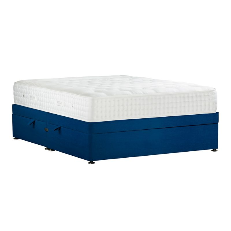 Sleepeezee Navy (Blue) 'Natural Indulgence Gold' plush velvet side ottoman divan bed with mattress