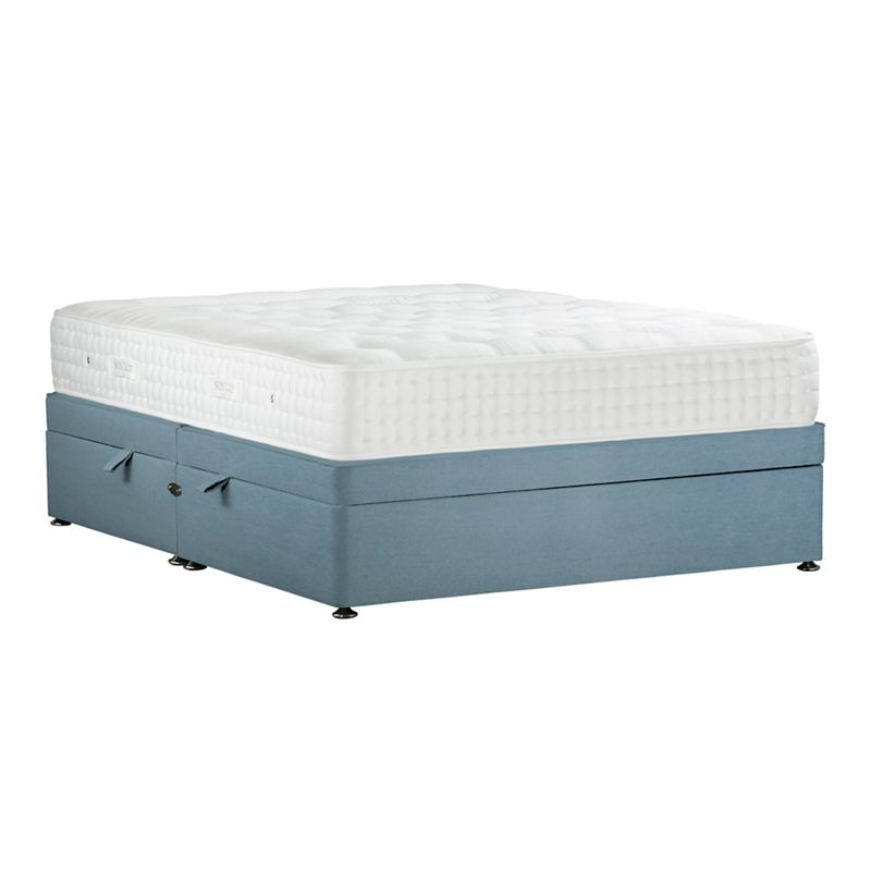 Sleepeezee Light blue 'Natural Indulgence Gold' plush velvet side ottoman divan bed with mattress