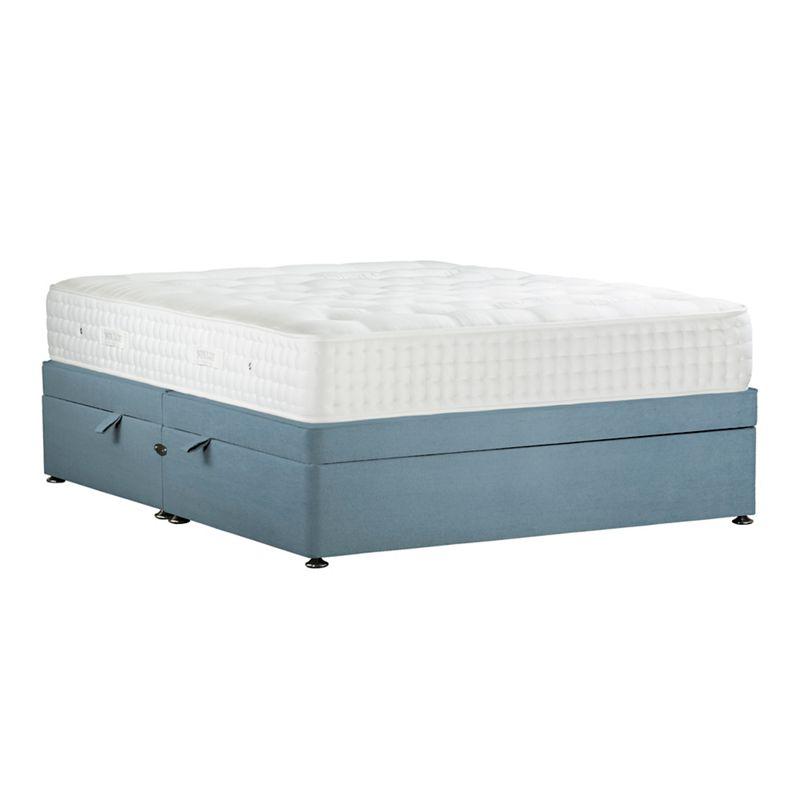 Sleepeezee - Light Blue 'Natural Indulgence Platinum' Plush Velvet Side Ottoman Divan Bed With Mattress