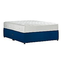 Sleepeezee - Navy 'Perfectly Ortho Gold' plush velvet no storage divan bed with mattress