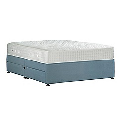 Sleepeezee - Light blue 'Perfectly Ortho Gold' plush velvet divan bed with mattress and 4 drawers