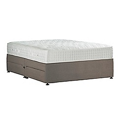 Sleepeezee - Camel 'Perfectly Ortho Gold' plush velvet divan bed with mattress and 4 drawers