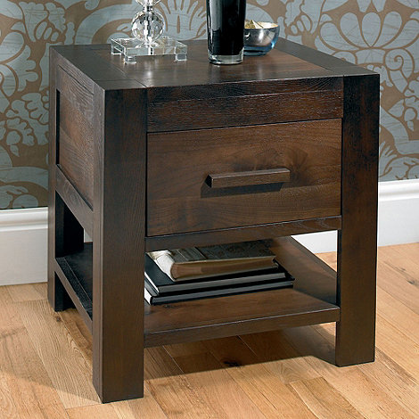 Debenhams - Walnut +Lyon+ bedside cabinet with single drawer