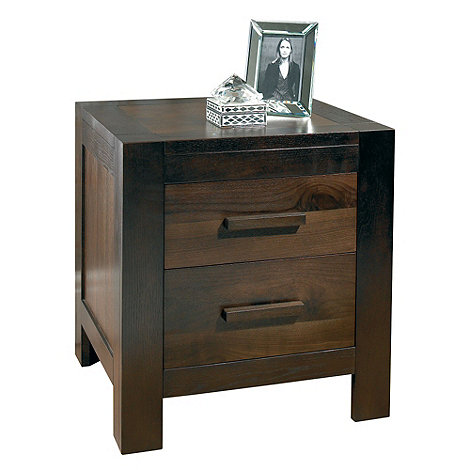 Debenhams - Walnut +Lyon+ bedside cabinet with 2 drawers