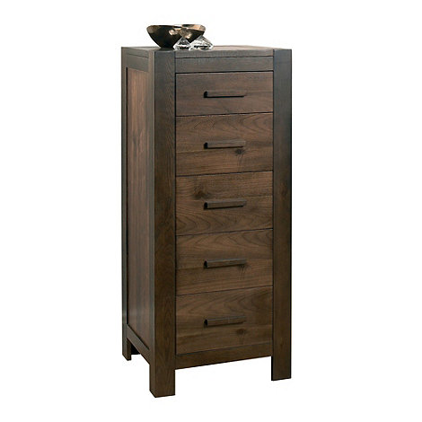 Debenhams - Walnut +Lyon+ tall 5 drawer chest