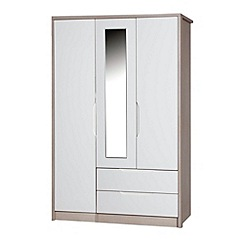 Debenhams - Champagne and cream 'Euston' triple wardrobe with mirror and drawers