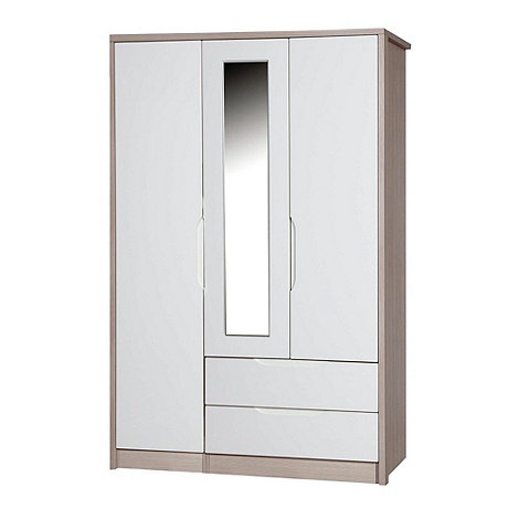 Debenhams - Champagne and cream +Euston+ triple wardrobe with mirror and drawers