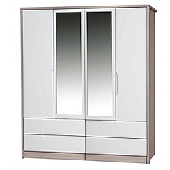 Debenhams - Champagne and cream 'Euston' 4-door wardrobe with mirror and drawers