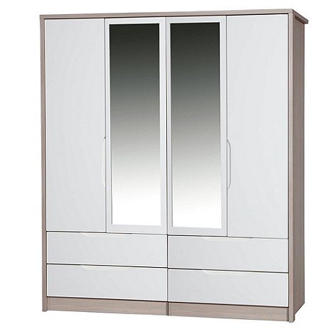 Debenhams - Champagne and cream +Euston+ 4-door wardrobe with mirror and drawers
