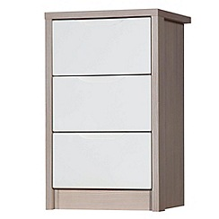 Debenhams - Champagne and cream 'Euston' bedside cabinet with 3 drawers