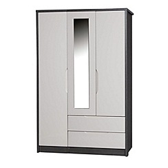 Debenhams - Sand and grey 'Euston' triple wardrobe with mirror and drawers
