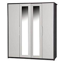 Debenhams - Sand and grey 'Euston' 4-door wardrobe with mirror