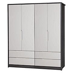 Debenhams - Sand and grey 'Euston' 4-door wardrobe with drawers