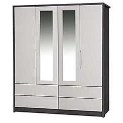 Debenhams - Sand and grey 'Euston' 4-door wardrobe with mirror and drawers