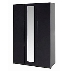 Debenhams - Black 'Brighton' triple wardrobe with mirror