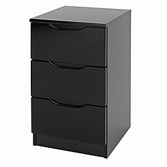 Debenhams - Black 'Brighton' bedside cabinet with 3 drawers