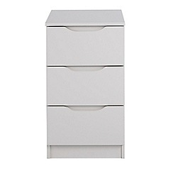 Debenhams - Grey 'Brighton' bedside cabinet with 3 drawers