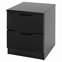 Debenhams - Black 'Brighton' bedside cabinet with 2 drawers