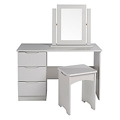Debenhams - Grey 'Brighton' dressing table with mirror and stool