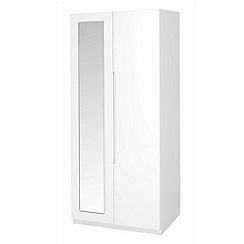 Debenhams - White 'Brighton' double wardrobe with mirror