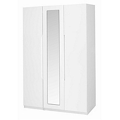 Debenhams - White 'Brighton' triple wardrobe with mirror