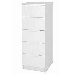 Debenhams - White 'Brighton' tall 5 drawer chest