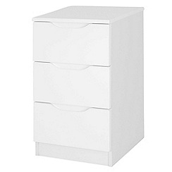Debenhams - White 'Brighton' bedside cabinet with 3 drawers