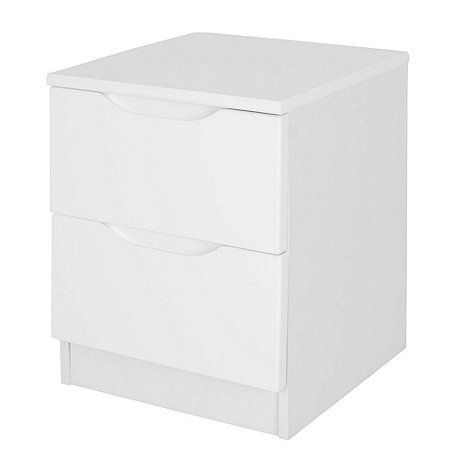 Debenhams - White +Brighton+ bedside cabinet with 2 drawers