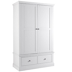 Debenhams - White 'Oxford' double wardrobe with drawers