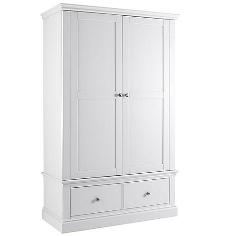 Debenhams - White +Oxford+ double wardrobe with drawers
