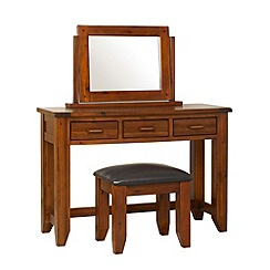Debenhams - Acacia 'Elba' dressing table with mirror and stool
