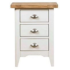 Debenhams - Oak and painted 'Wadebridge' bedside cabinet with 3 drawers