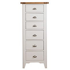 Debenhams - Oak and painted 'Wadebridge' tall 6 drawer chest
