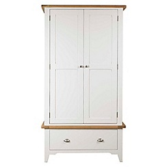 Debenhams - Oak and painted 'Wadebridge' double wardrobe with drawer